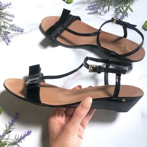 Kate Spade Patent Leather Bow Wedge Sandals 10